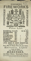 Advertisement for Robinson's Fireworks 7097